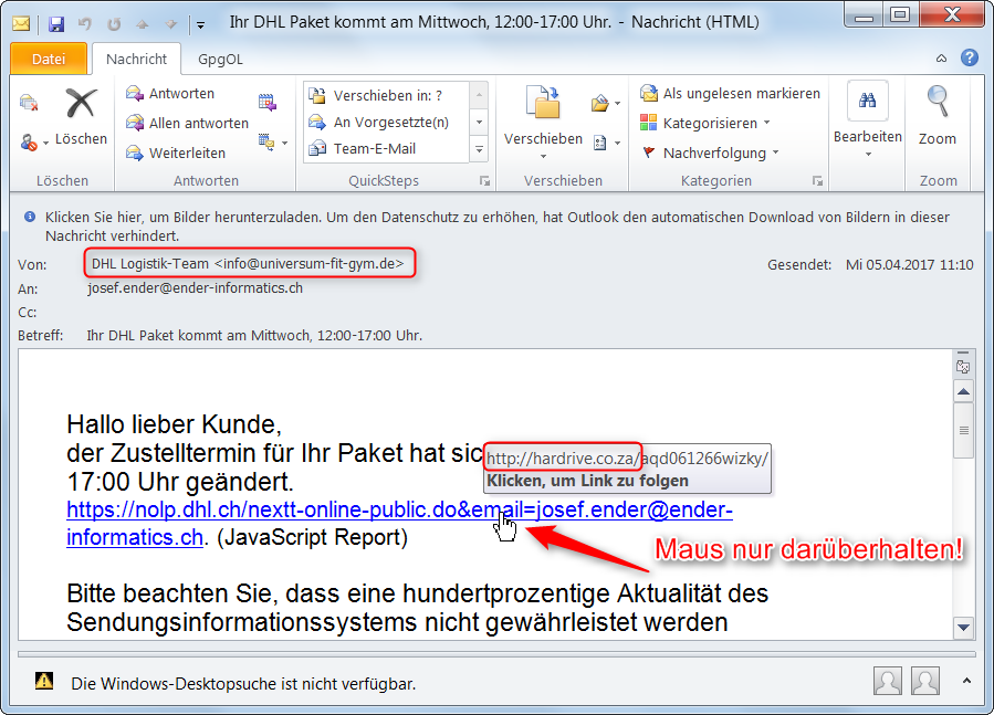 Gefälschte und schädliche E-Mails erkennen - Ender Informatics