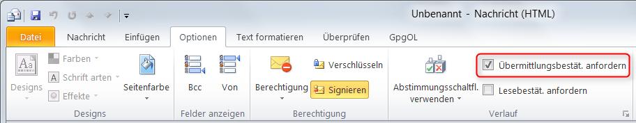 Übermittlungsbestätigung in Outlook einschalten